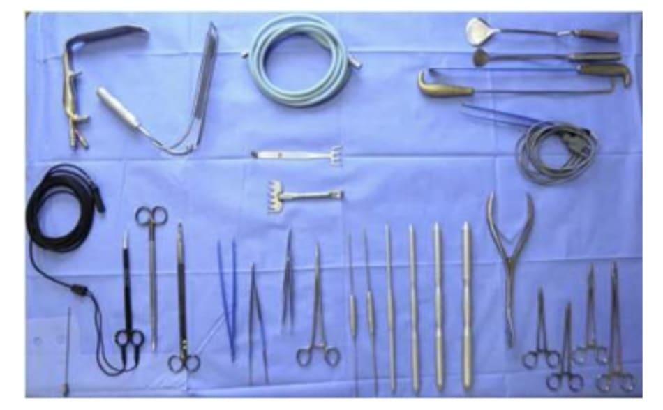 Hình. 11. Dụng cụ phẫu thuật tiêu chuẩn cho kỹ thuật nâng mông dưới cân.